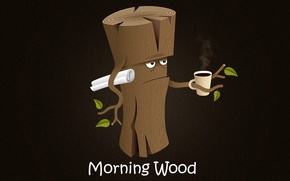 Picture tree, coffee, humor, morning, newspaper, good