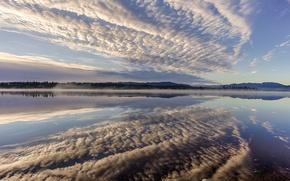 Picture clouds, reflection, Germany, Bayern, Germany, Bavaria, Lake Kirchsee, lake Kirchsee