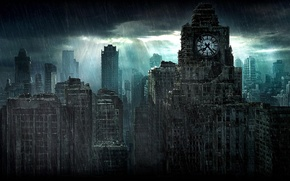 Picture night, the city, watch, ruins, the shower, Time Shift