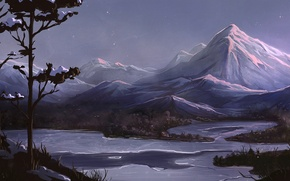 Picture trees, mountains, night, river, art, painted landscape