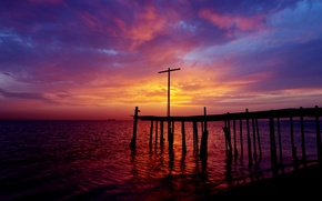 Picture sunset, shore, the evening, pierce, Bahrain, The Persian Gulf