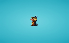 Wallpaper crocodile, blue background, crocodile, toothy, The Croods, The Croods