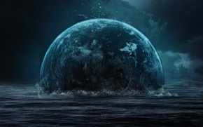 Picture sea, wave, clouds, the darkness, planet