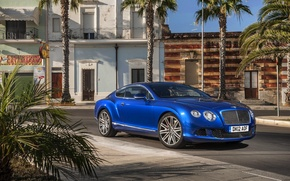 Picture Auto, Bentley, Continental, Blue, The city, Machine, Day, Coupe