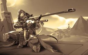 Wallpaper weapons, pyramid, Bounty Hunter, Overwatch, Ana Amari, shooter