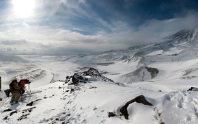 Picture the sun, clouds, snow, landscape, mountains, nature, stay, Wallpaper, the descent, sport, panorama, wallpaper, skiers, …