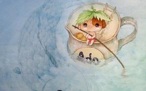 Picture water, sheet, river, figure, anime, baby, art, mug, children's