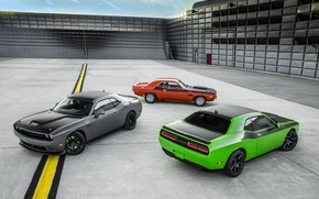 Picture green, Dodge, Challenger, red, Dodge, cars, grey, muscle cars, T/A, T/A 392