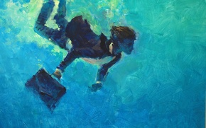 Picture sea, water, blue, sleep, swimmer, suitcase, under water, case, the diplomat, George tandashvili