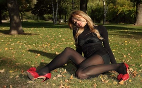 Picture BLONDE, SHOES, GRASS, DRESS, STOCKINGS, BLACK, GREEN