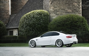 Picture white, trees, house, bmw, BMW, tower, white, wheels, bbs, e92