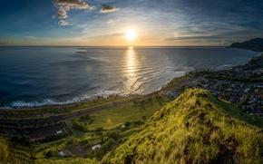 Picture road, sea, the sky, the sun, mountains, dawn, coast, home, horizon, Hawaii, USA