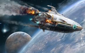 Picture space, ship, planet, the crash, art