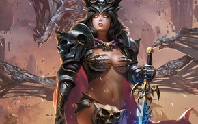 Picture fantasy, Girl, sword, warrior, art