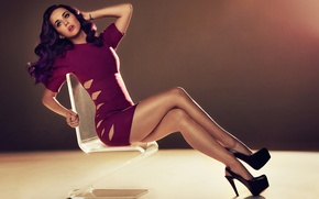 Picture girl, dress, chair, shoes, Katy Perry, Katy Perry, singer, sitting, tattoo