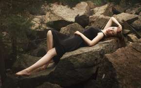 Picture forest, look, girl, nature, face, pose, stones, mood, model, portrait, figure, dress, black, lies, brown …