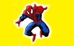 Picture yellow background, comic, Marvel Comics, Spider-Man, Peter Parker, Peter Parker, Spider-Man, Marvel