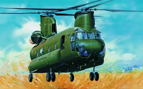 Picture art, helicopter, painting, aviation, Boeing CH-47 Chinook