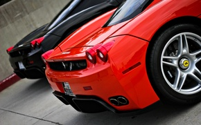 Picture red, black, Ferrari, supercar, red, supercar, Ferrari, black, enzo, back, Enzo