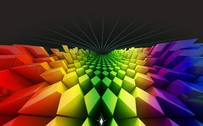 Picture color, rainbow, squares, diamonds