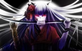 Picture girl, flowers, weapons, katana, anime, art, kimono, ennka