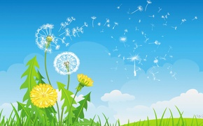 Wallpaper flowers, vector, blade of grass, dandelion, collage, the sky, grass, clouds