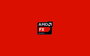 Picture red, background, processor, amd