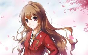 Picture look, girl, smile, petals, school uniform, anime, art, aisaka taiga, lancefate, toradora!
