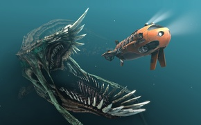 Picture ship, monster, chase, art, mouth, lights, submarine, fangs, under water