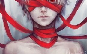 Picture art, Anime, guy, Anime, neck, red ribbon, Tokyo Ghoul, Tokyo To, Ken Kanek, Bleed, blauerozen