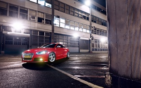 Picture Audi, Red, Glow, Lights, Night, Tuning, Wheels, Garage