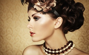 Picture girl, background, hair, makeup, beads, profile, decoration, curls, neck