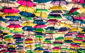 Picture background, umbrellas, colorful, a lot
