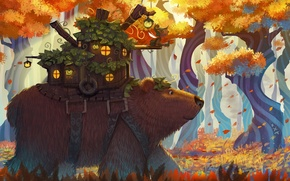 Picture forest, leaves, fantasy, bear, art, house, darayya
