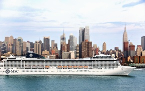 Picture The city, White, Liner, Day, The ship, Passenger, Side view, MSC, On The Go, Poesia
