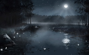 Wallpaper forest, the sky, stars, trees, landscape, night, nature, fog, lake, the reeds, the moon, figure, ...