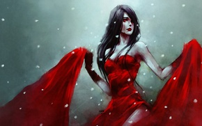 Picture girl, blood, passion, petals, red dress, art, nanfe