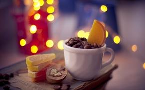 Wallpaper lemon, Cup, coffee, sugar, book, slices, lights, nuts, bokeh, orange, grain, marmalade