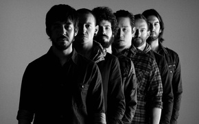 Picture photo, background, black and white, men, rock band, American, Linkin Park