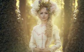 Picture girl, landscape, flowers, nature, doll, dress, wreath, photo by Katerina Plotnikova, Lukyanova