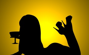 Picture girl, shadow, cocktail, lies, yellow background