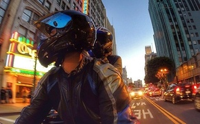 Picture Moto, the evening, helmet