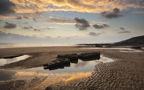 Picture sand, sea, the sky, clouds, stones, coast, horizon, UK, Wales, Dunraven Bay
