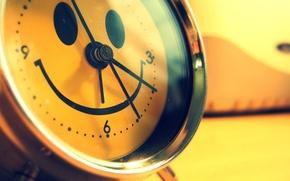 Wallpaper smile, alarm clock, Wallpaper, different, color, arrows, time, Watch, photo