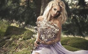 Wallpaper grass, girl, nature, stones, moss, bouquet, dress, blonde, Monika Jaros