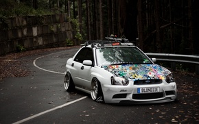 Picture road, ski, tuning, subaru impreza, low, stance works, decals