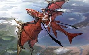 Picture girl, flight, dragon, height, sword, anime, art