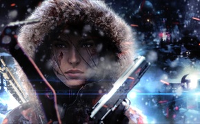 Wallpaper cold, winter, girl, face, gun, the wind, hood, lara croft, tomb raider, Rise of the ...