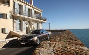 Picture sea, house, Maserati, Quattroporte