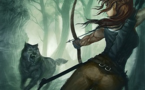 Picture girl, the game, wolf, predator, bow, art, mouth, Tomb Raider, Lara Croft